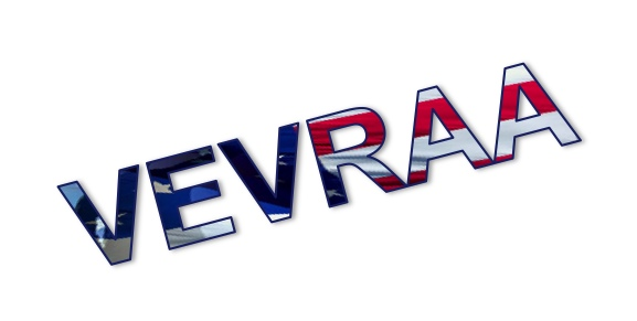 Text VEVRAA with american flag in the lettering.