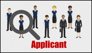 """Graphic of office workers with a magnifying glass and the word, """"applicant"""" important to understand for your affirmative action plan"""