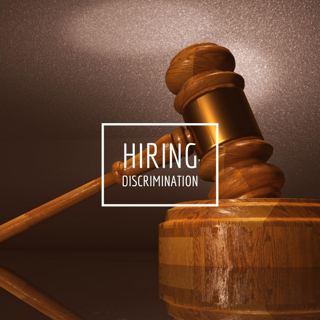 """Image of a gavel with text, """"hiring discrimination"""""""
